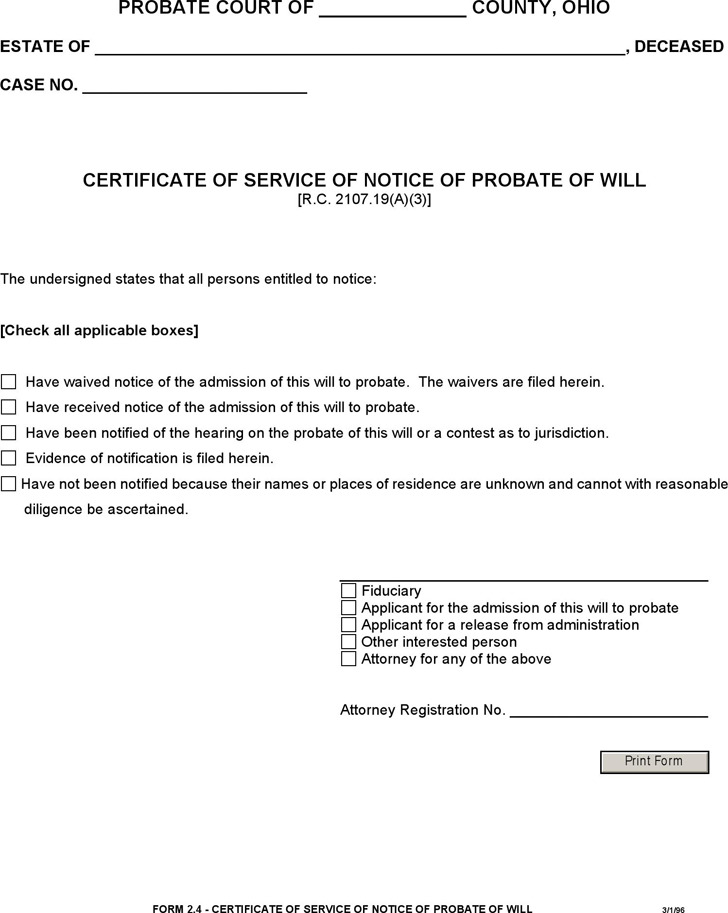 Certificate of Service of Notice of Probate of Will