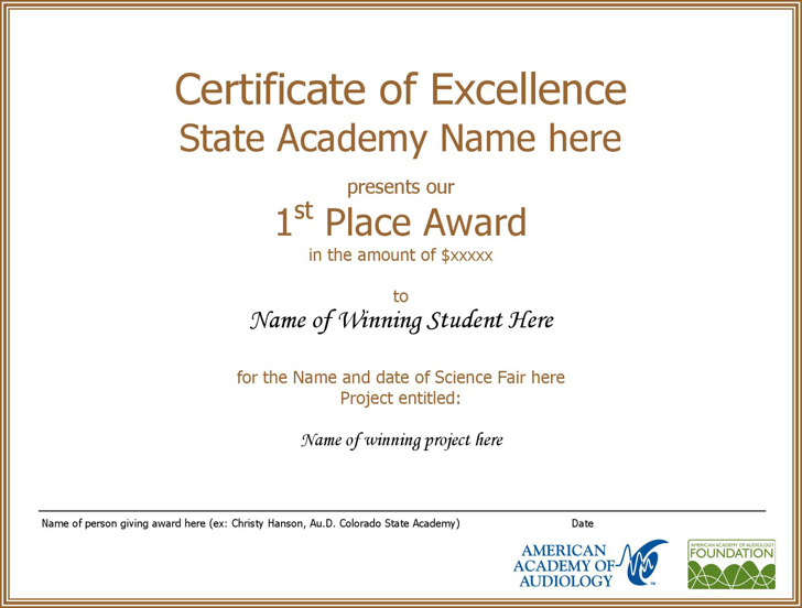 Certificate Of Student Excellence