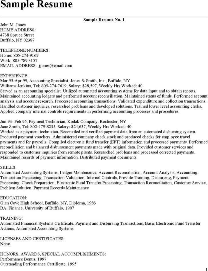Certified Bookkeeper Resume