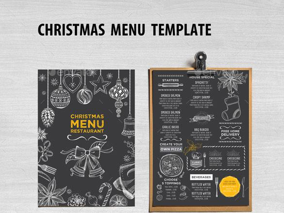 Chalkboard Christmas Menu Restaurant Template Vector EPS