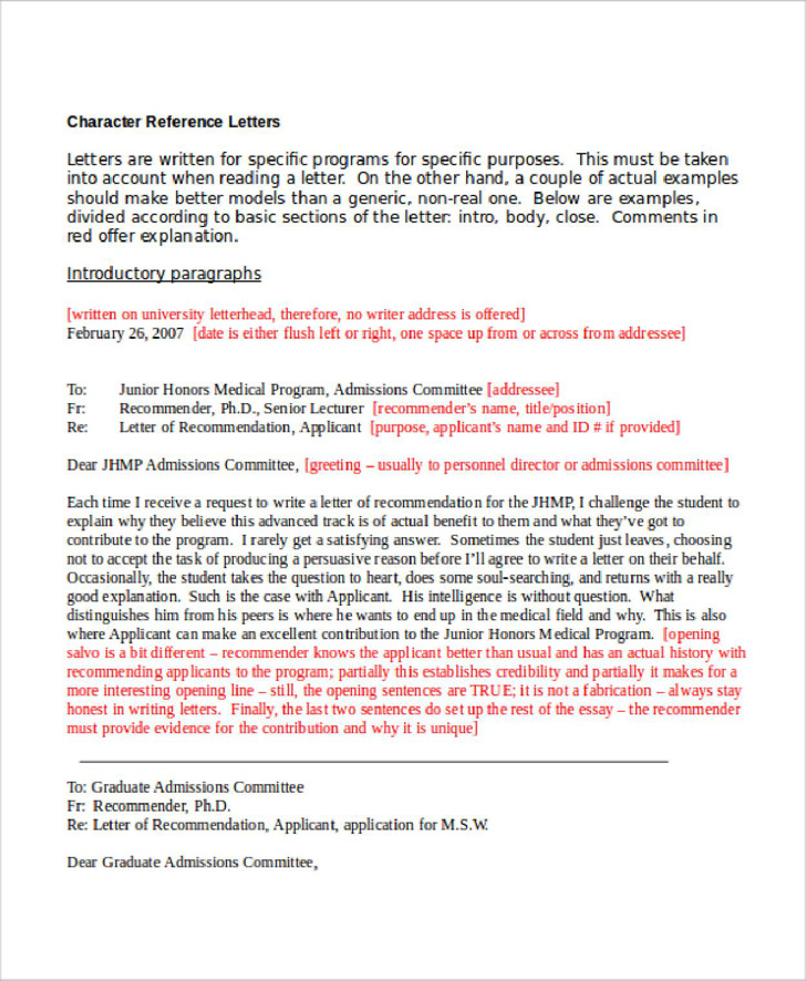 Character Reference Letter Templates Download for Free