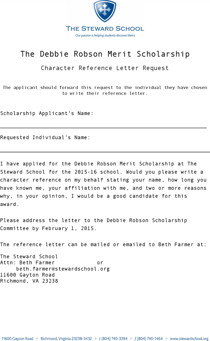 sample character reference letter templates character reference letter for scholarship