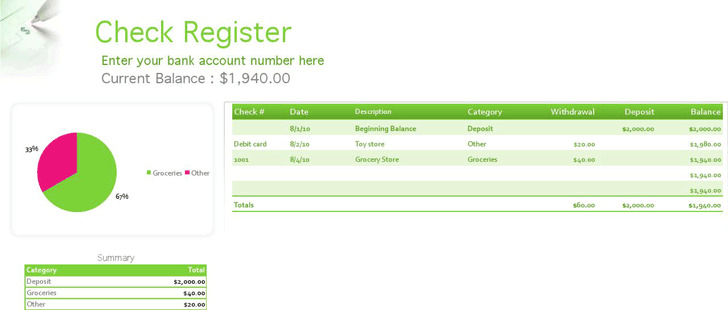 Check Register Template – Check Register Template