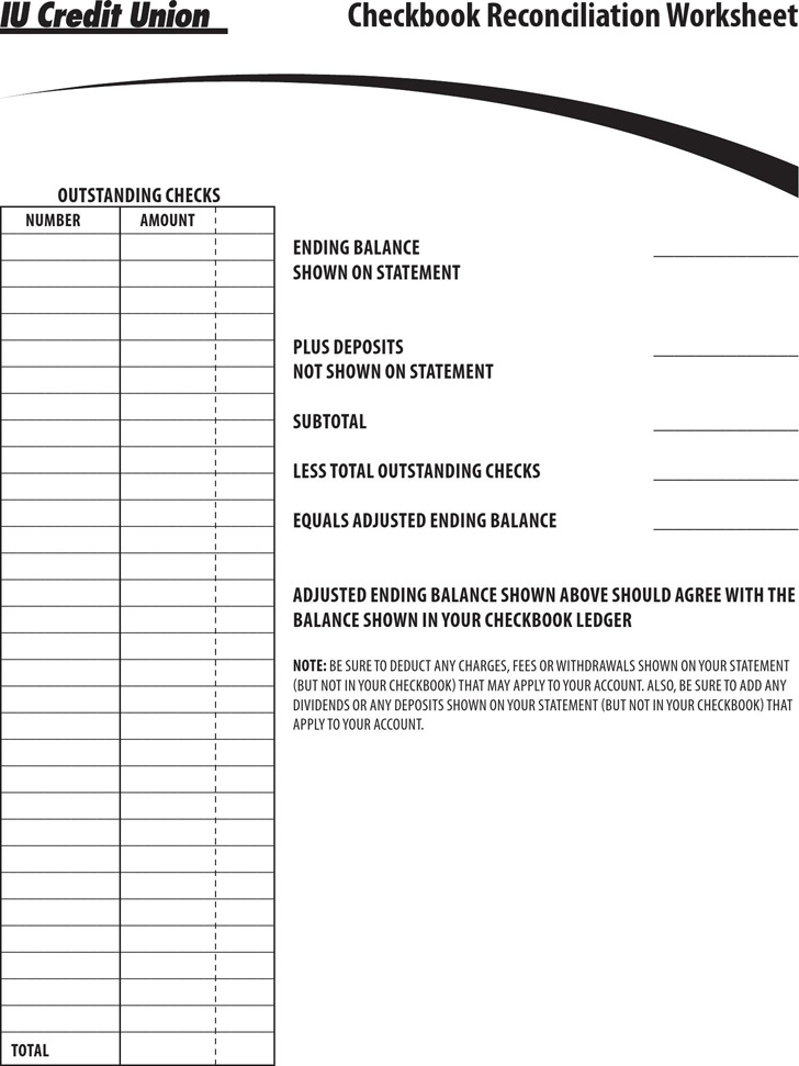 Checkbook Balance Sheet