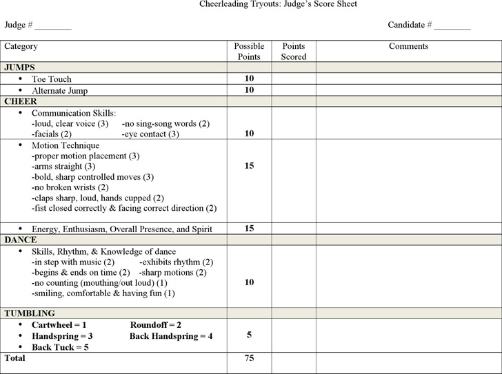 Cheerleading Tryout Score Sheet  Download Free  Premium