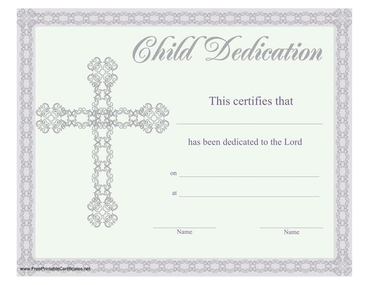 Best Baby Dedication Certificates Templates Contemporary  Example