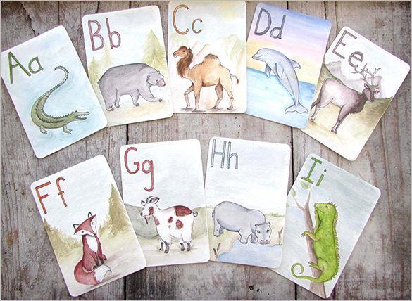 Children's Educational Animal Alphabet Flash Card