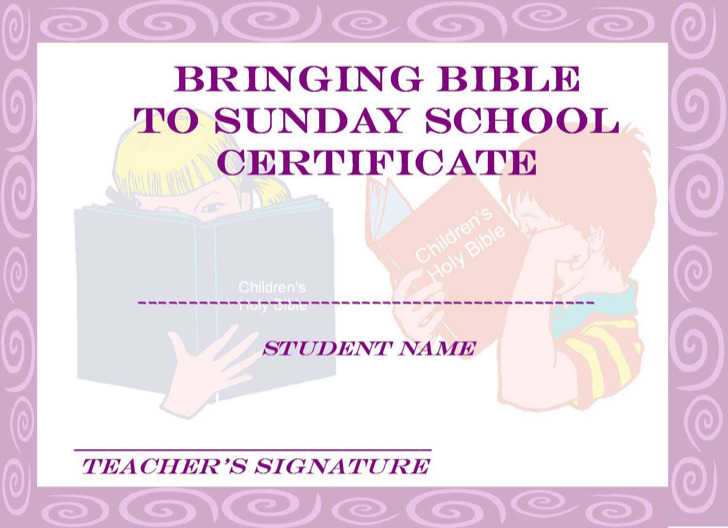 Christian Sunday School Certificate