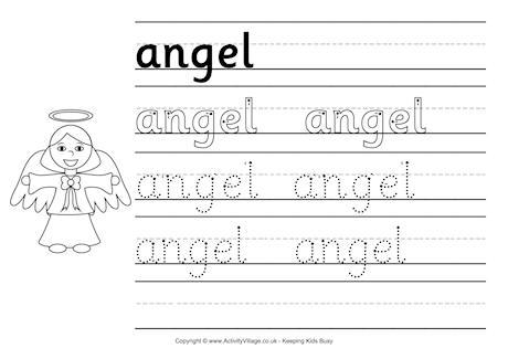 Christmas Angel Writing Paper Handwriting Template