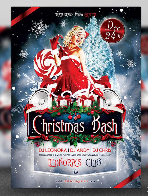 Christmas Bash Flyer Template Design in PSD Format