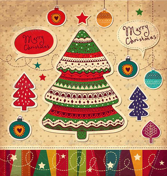 Christmas Card with Christmas Trees Vector EPS Download