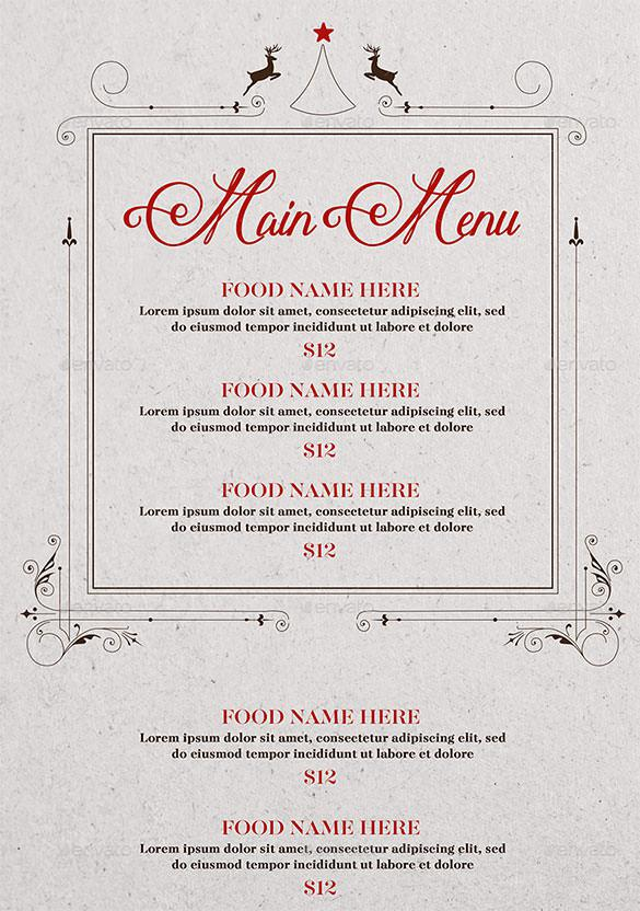Christmas Food Menu Vector EPS Format