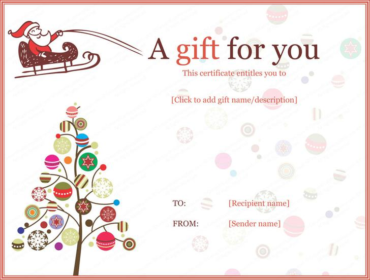 Christmas Gift Certificate Template 2