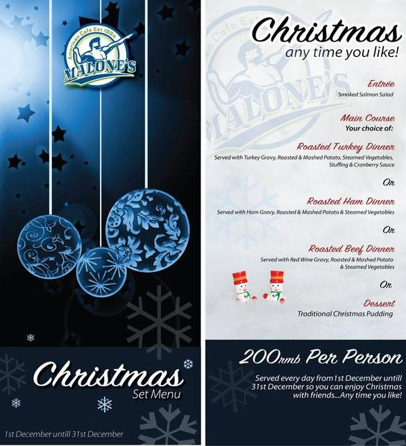 Christmas Menu Templates – Free Christmas Dinner Menu Template