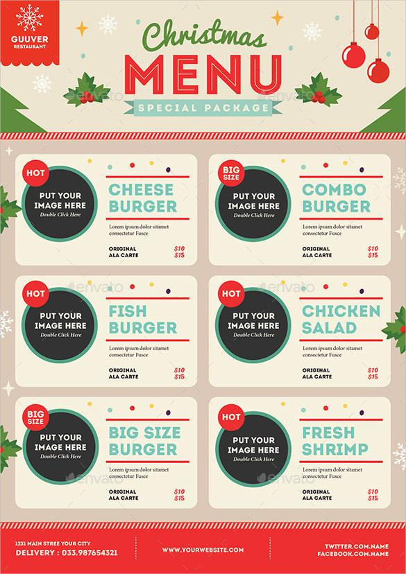 Christmas Menu Vector EPS Format Download