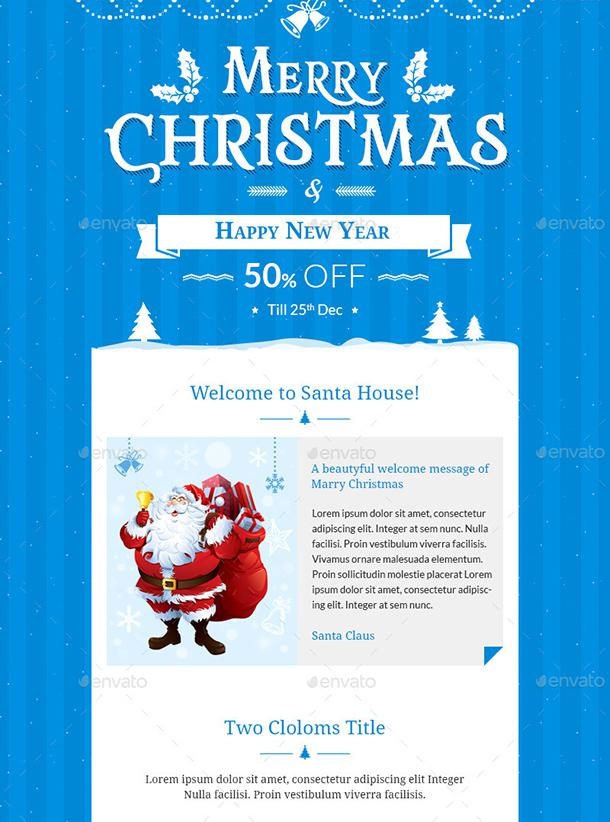 Christmas Offers E-Commerce E-Newsletter Photoshop Psd Template