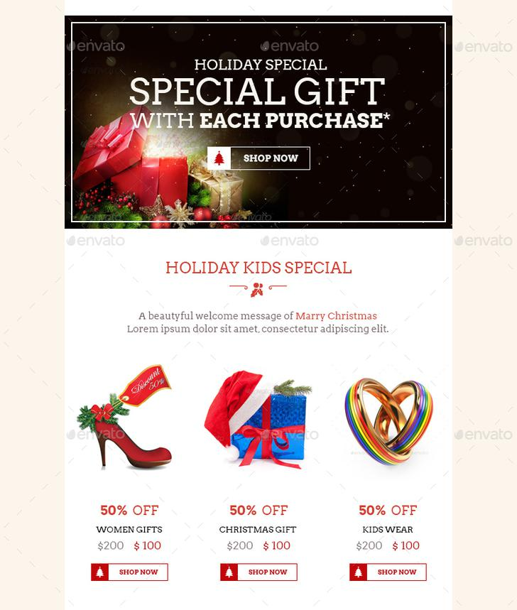 Christmas Shopping E-Commerce Newsletter Template PSD Design