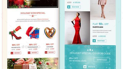 Christmas Shopping Offers E-Commerce Newsletter Psd Format