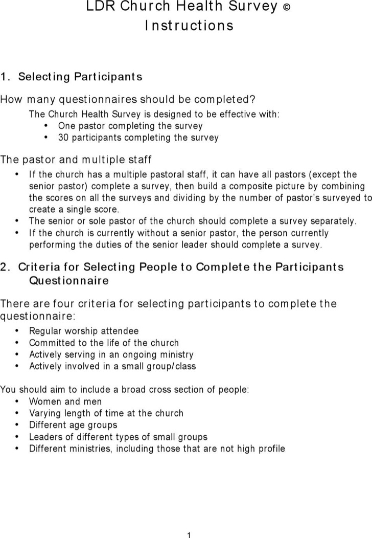 Church Survey Template  Download Free  Premium Templates Forms