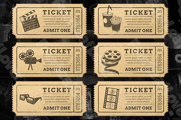 Cinema Drink Ticket Template  Dinner Tickets Template