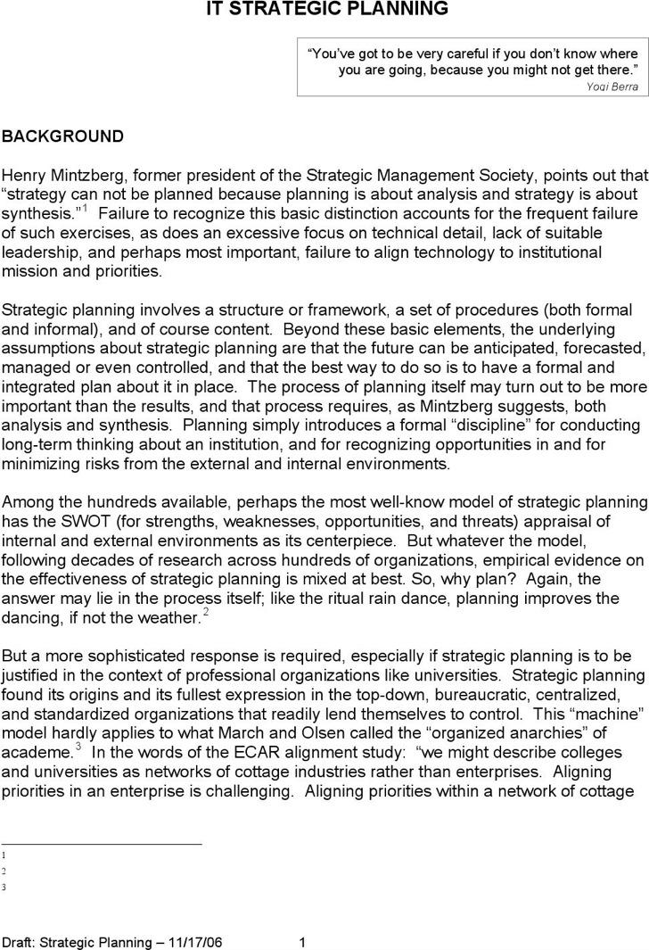 Cio Executive Board It Strategic Plan Template