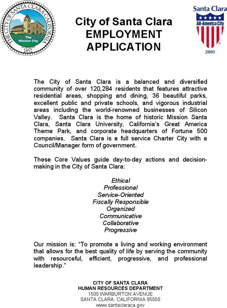 City of Santa Clara Employment Application
