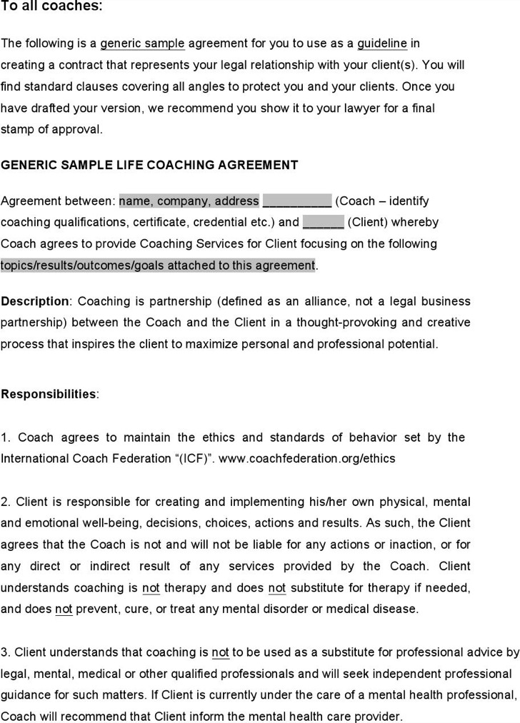 coaching contracts templates - sample coaching contract templates download free