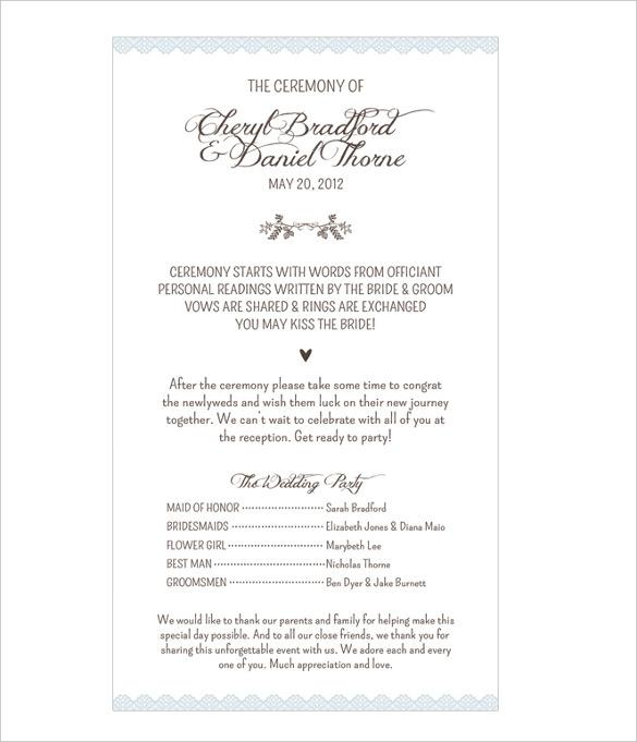Classic Wedding Program Template For Download