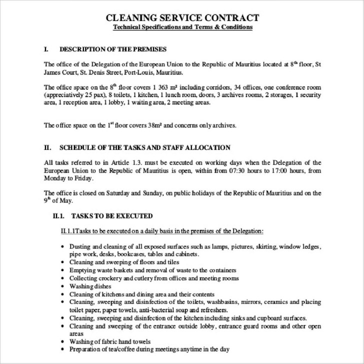 Service Contract Templates Service Contract Agreement Template