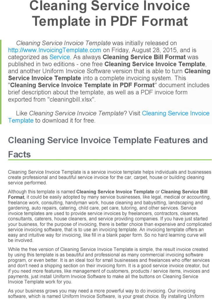 Cleaning Service Invoice Doc Format Free Template