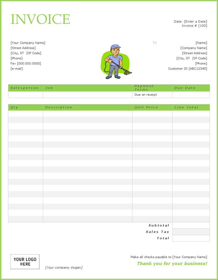 Cleaning Service Invoice