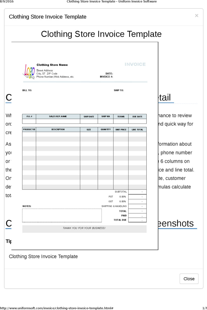 Clothing Store Receipt Template