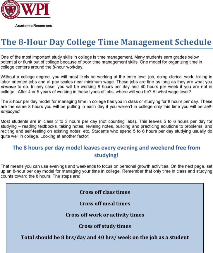 College Daily Time Schedule