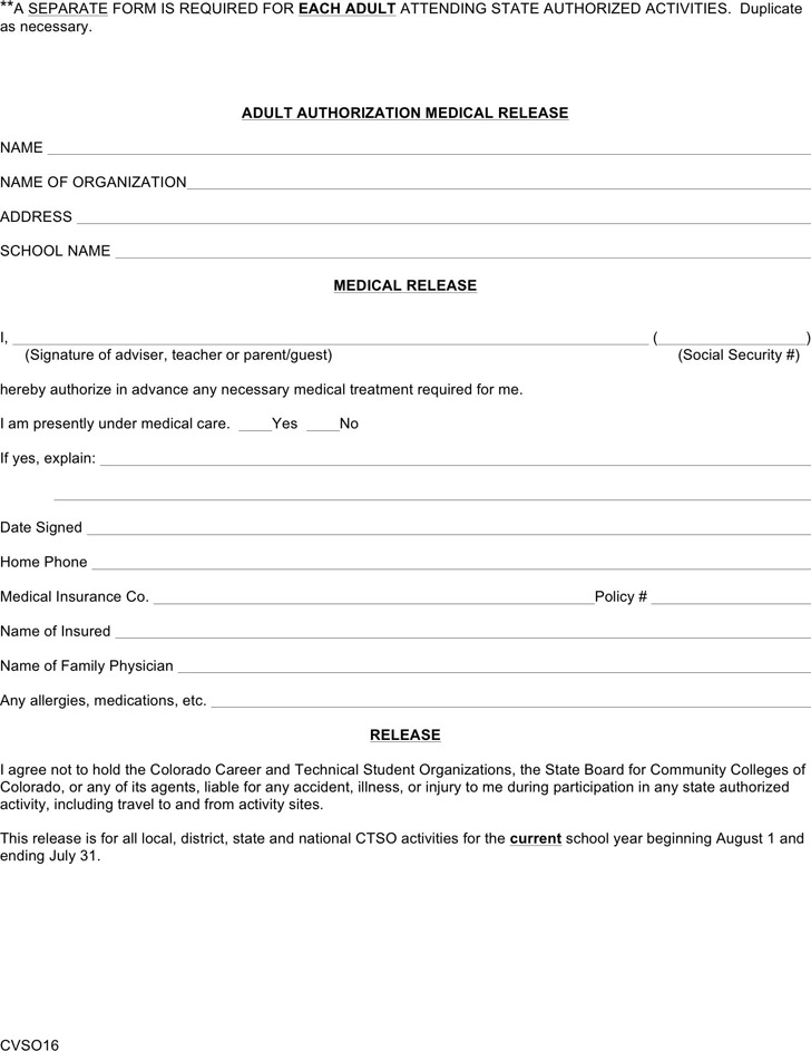 Colorado Adult Authorization Medical Release Form