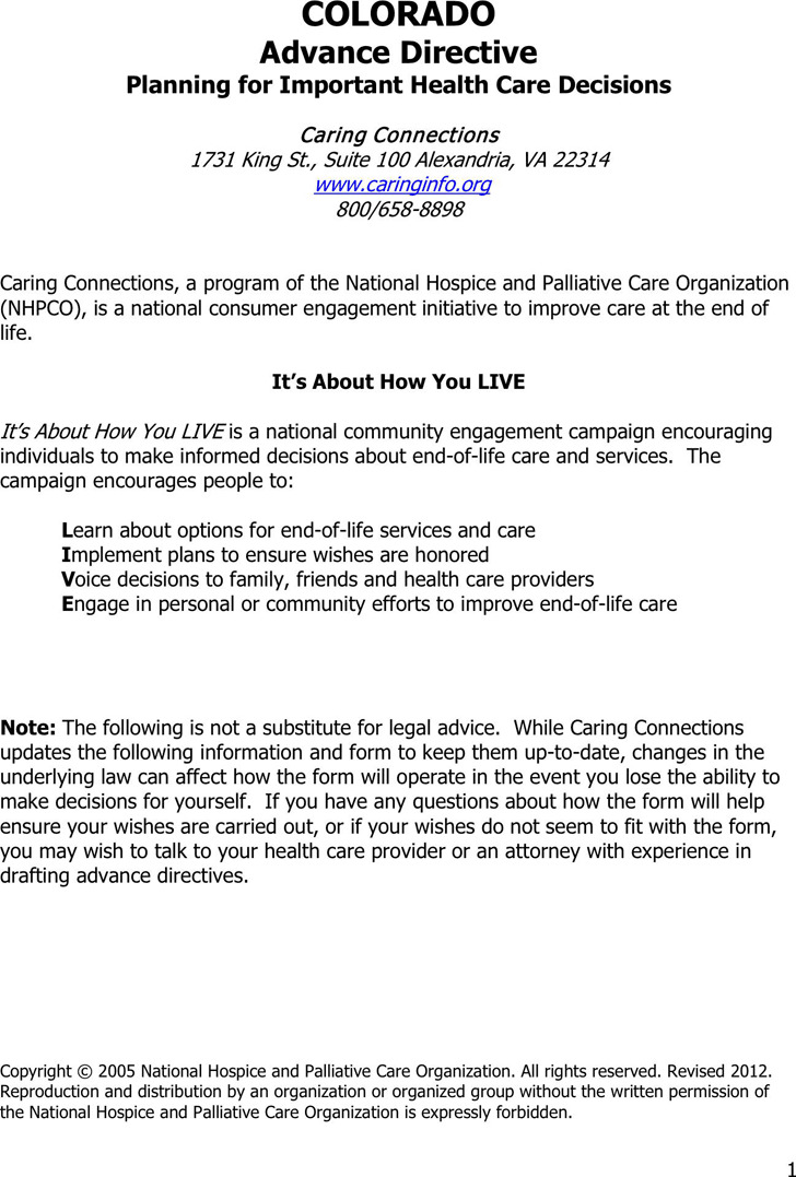 Colorado Advance Directive Form  Download Free  Premium