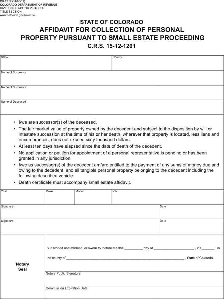 Colorado Affidavit For Collection of Personal Property
