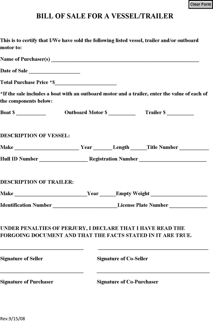 Colorado Bill of Sale for a Vessel/Trailer