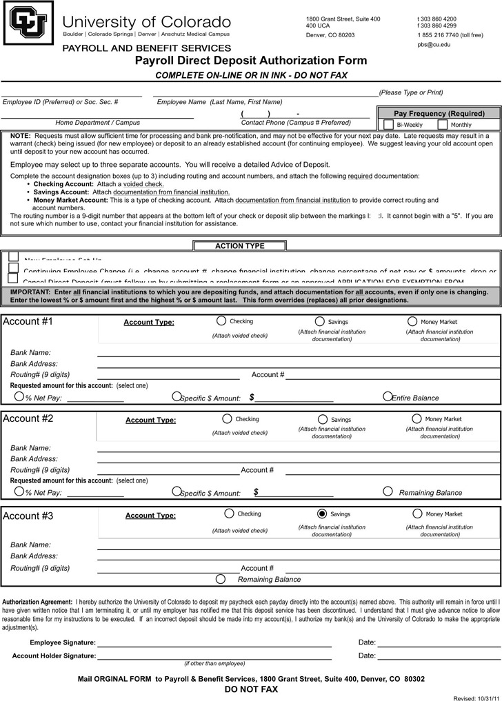 Colorado Direct Deposit Form 1