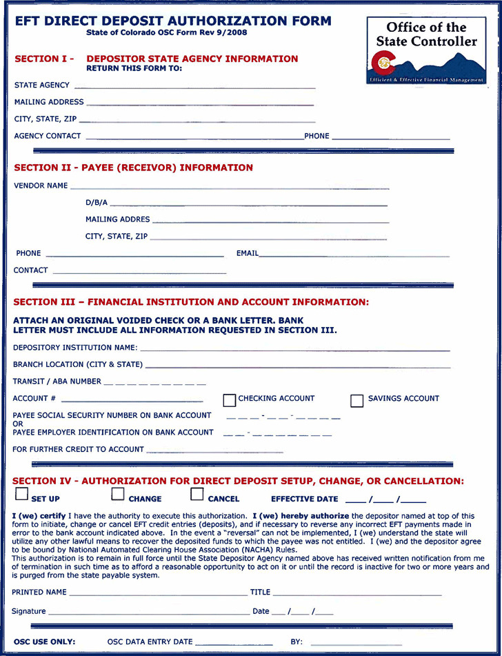 Colorado Direct Deposit Form 3