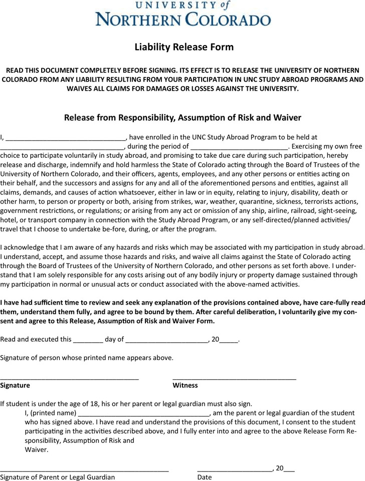 Colorado Liability Release Form