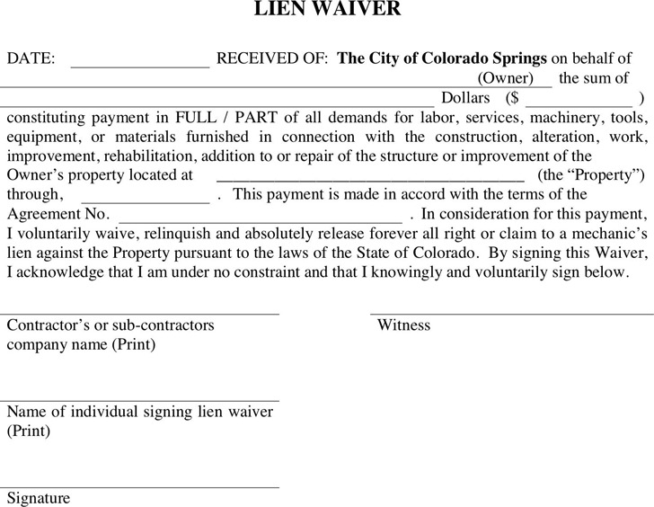 Colorado Lien Waiver