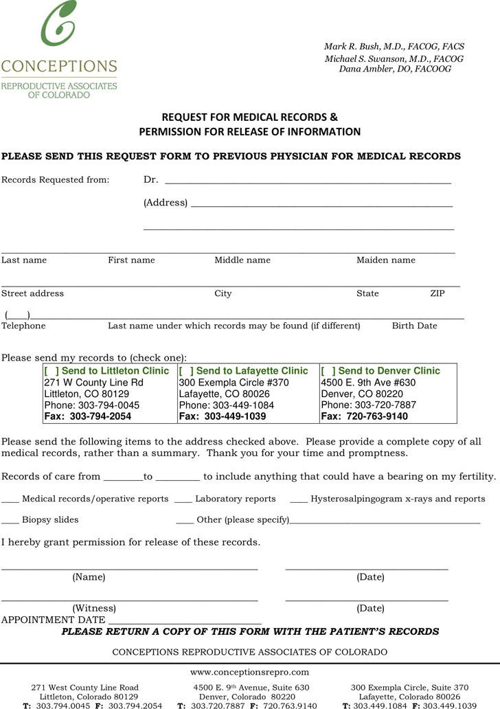 Colorado Medical Records Release Form | Download Free & Premium