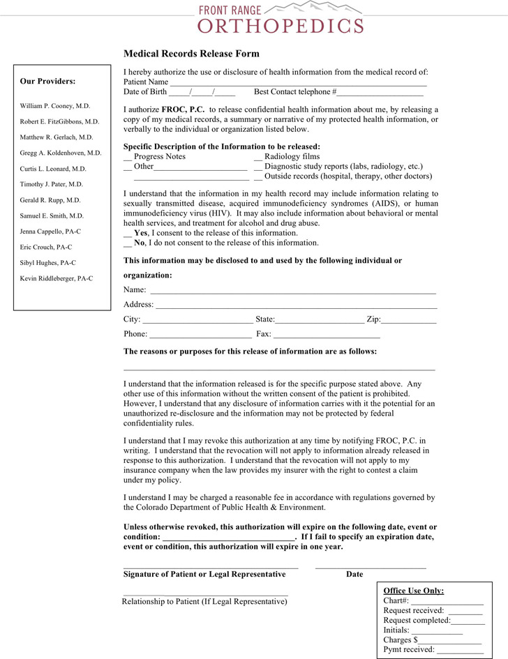 Colorado Medical Records Release Form 2