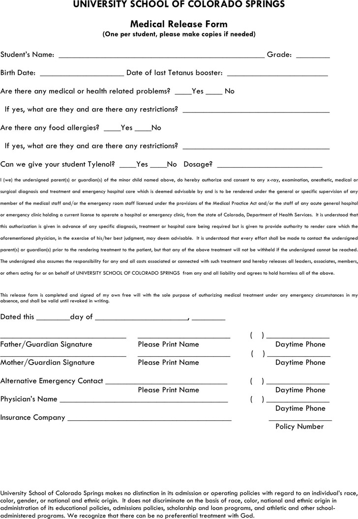 Colorado Medical Release Form 2