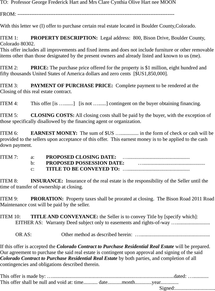 Colorado Offer To Purchase Real Estate Form  Download Free
