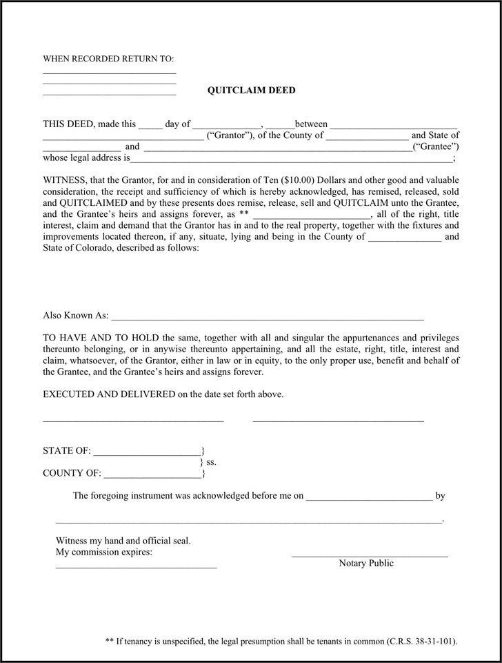 Colorado Quitclaim Deed Form 1