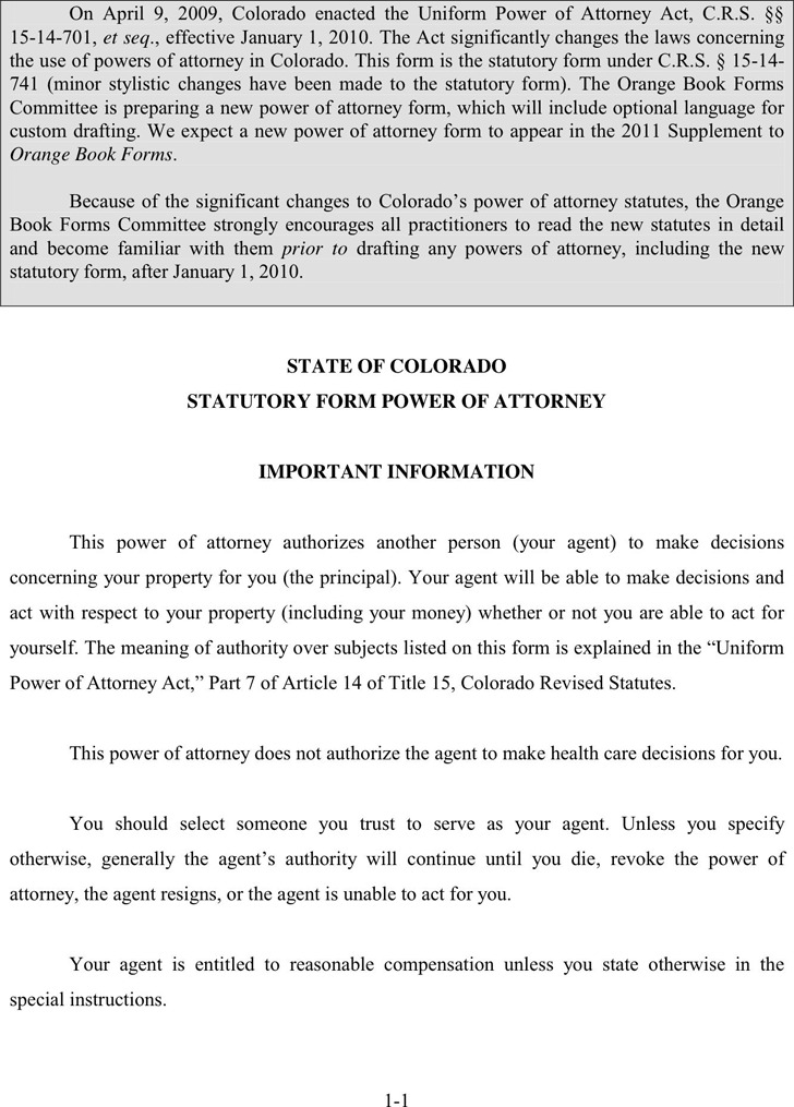 Colorado Statutory Power of Attorney Form