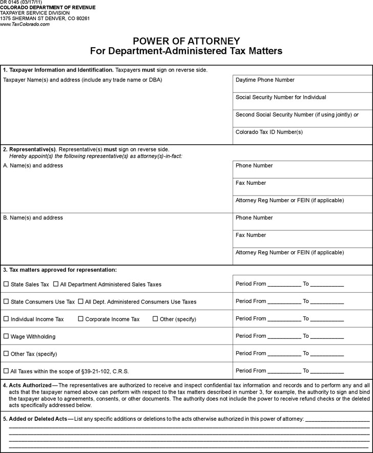 Colorado Tax Matters Power of Attorney Form
