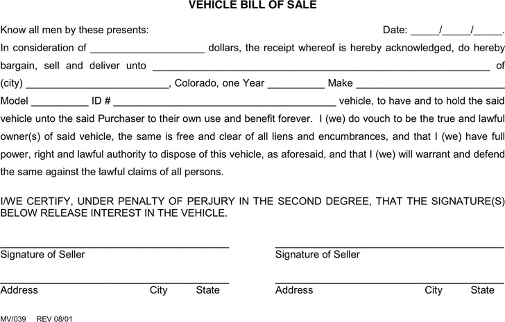 Colorado Vehicle Bill of Sale Form 2