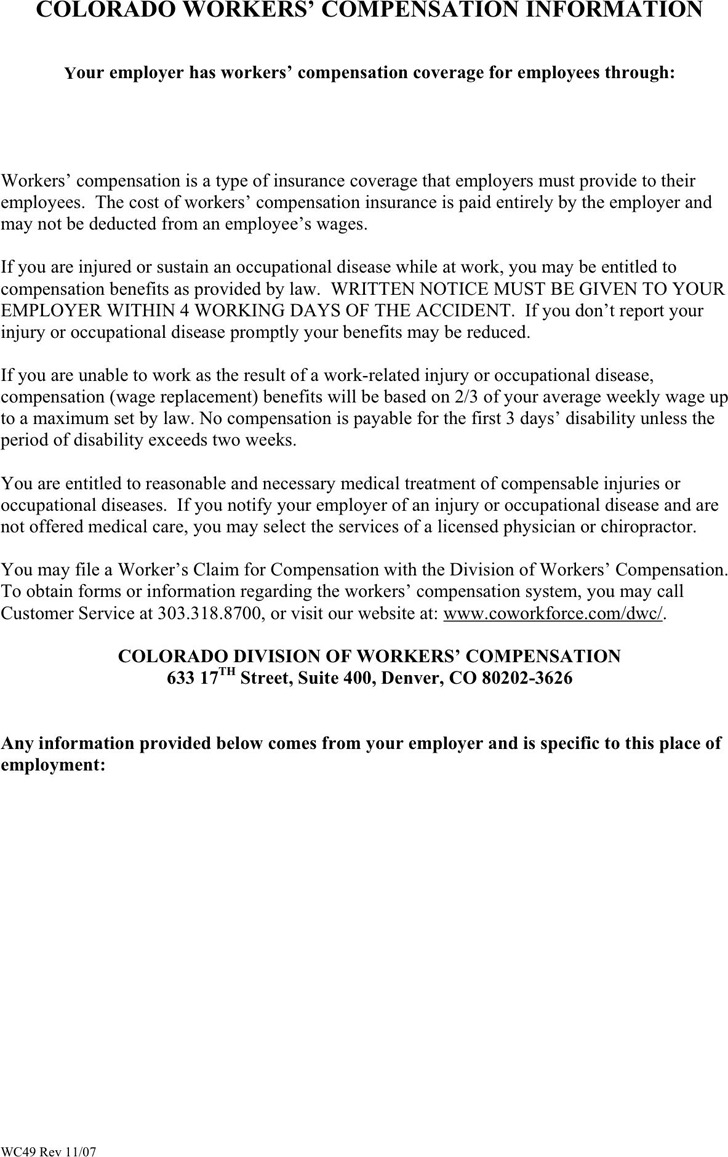 Colorado Workers' Compensation Information Form